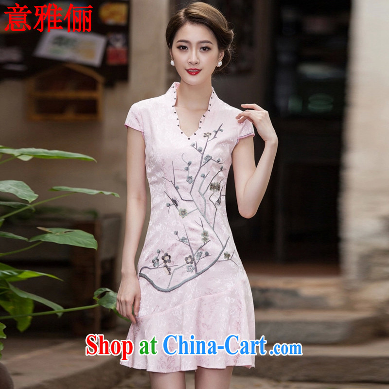 Jacob was an 2015 spring and summer new short-sleeved V collar embroidered Phillips nails Pearl crowsfoot skirt with embroidery short cheongsam L 743 red XXL
