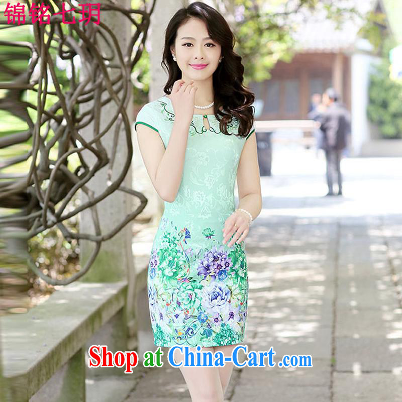 Kam Ming Yin Yue 7 summer 2015 new minimalist retro beauty graphics thin stamp cheongsam dress green the Peony L