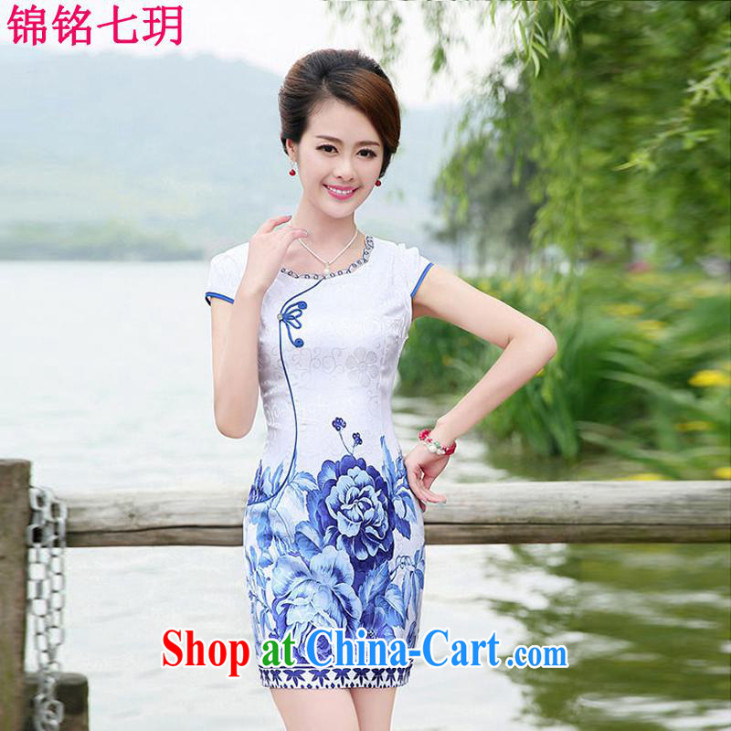 Kam Ming Yin Yue 7 summer 2015 new minimalist retro beauty graphics thin stamp Peony cheongsam dress blue floral XXL