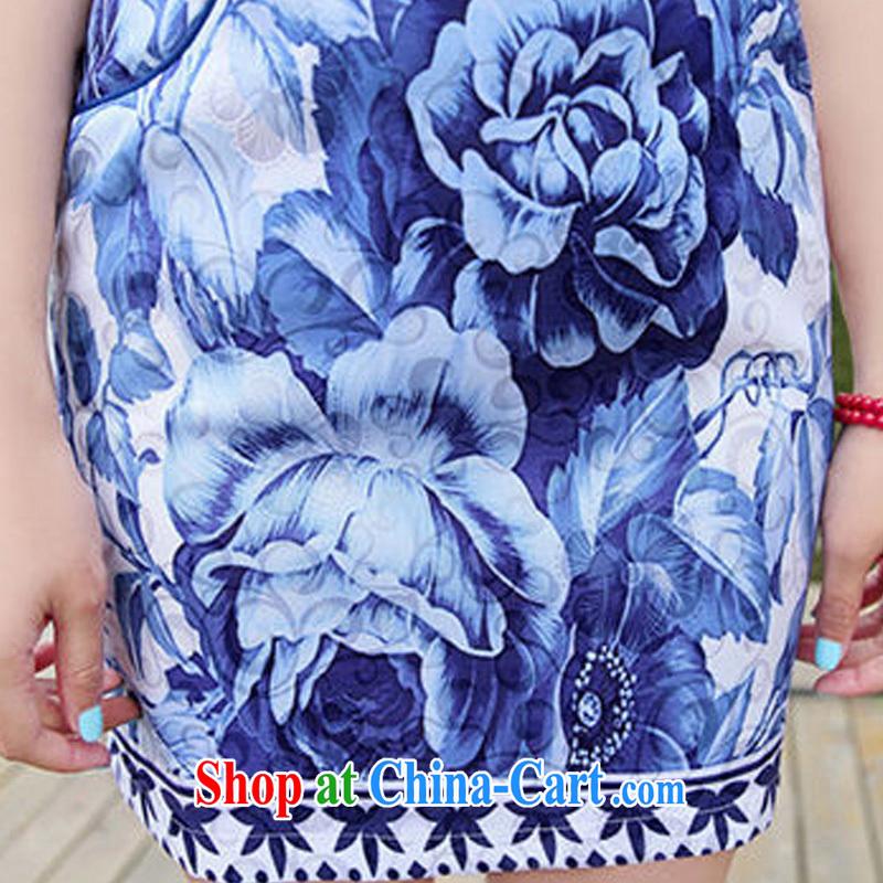 Kam Ming Yin Yue 7 summer 2015 new minimalist retro beauty graphics thin stamp Peony cheongsam dress blue floral XXL, Kam-ming 7 Yin Yue, shopping on the Internet