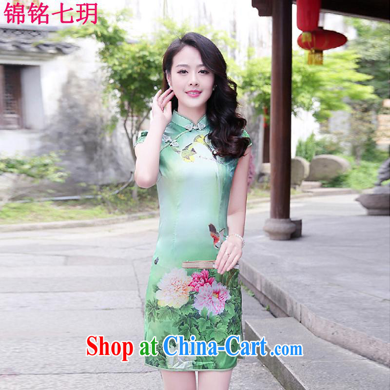Kam Ming Yin Yue 7 summer 2015 new minimalist sepia ink stamp beauty graphics thin cheongsam dress Peony flowers XXL