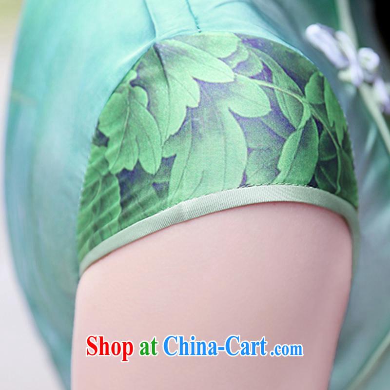Kam Ming Yin Yue 7 summer 2015 new minimalist sepia ink stamp beauty graphics thin cheongsam dress Peony flowers XXL, Kam-ming 7 Yin Yue, shopping on the Internet