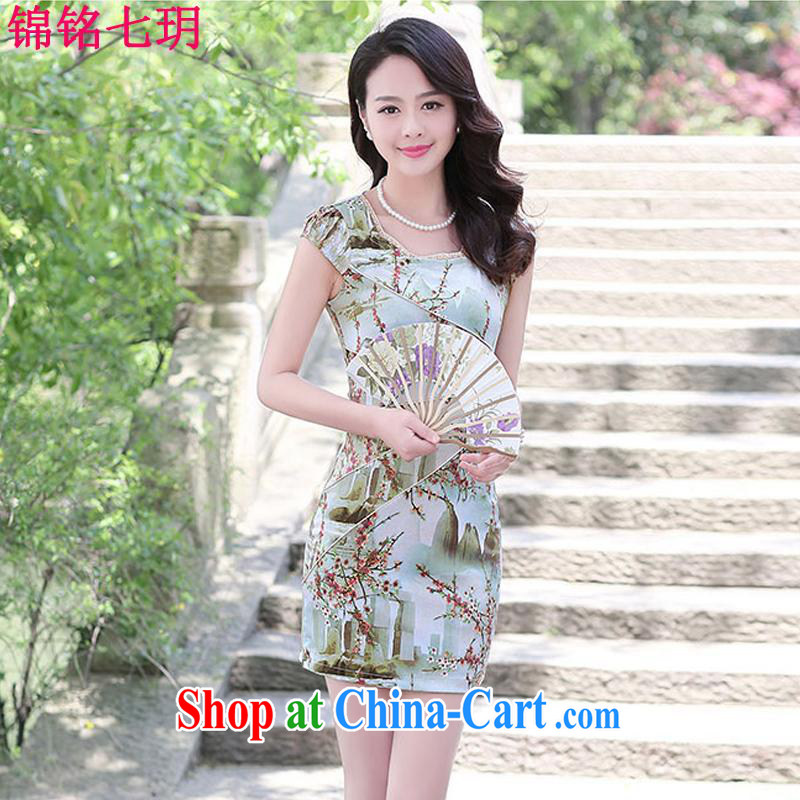 Kam Ming Yin Yue 7 summer 2015 new minimalist retro beauty graphics thin ink stamp cheongsam dress XXL landscape