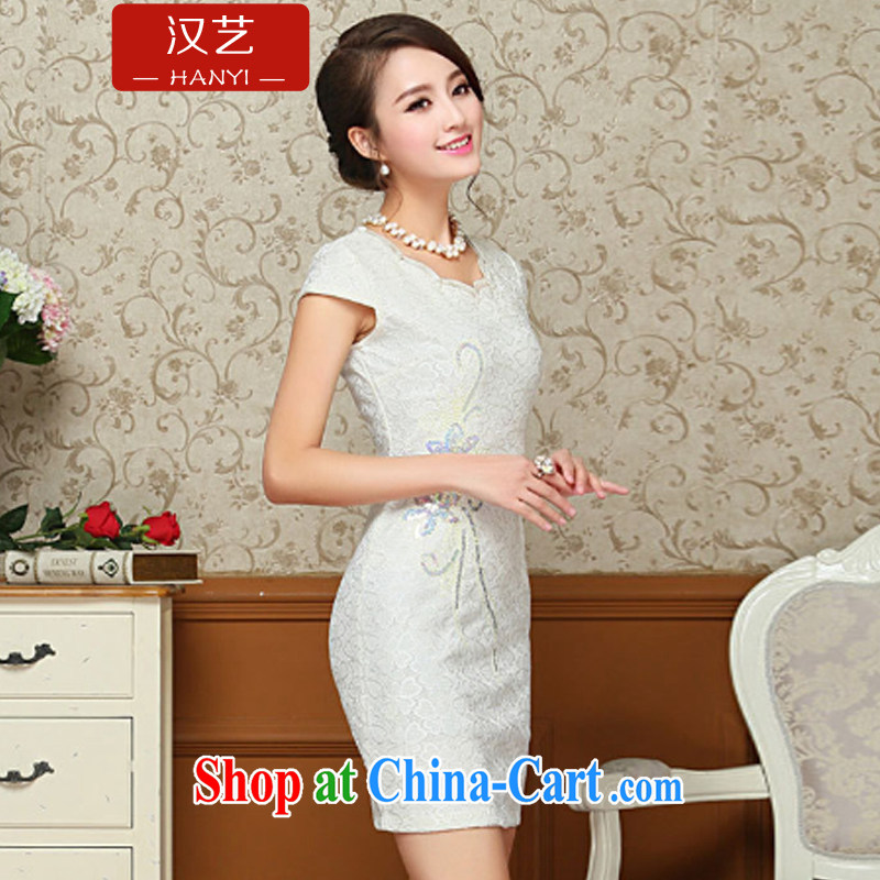 The performing arts 2015 new female summer, long, short-sleeved improved upscale dresses beauty graphics thin even coat skirt fresh arts daily pink XXL, performing arts, and shopping on the Internet