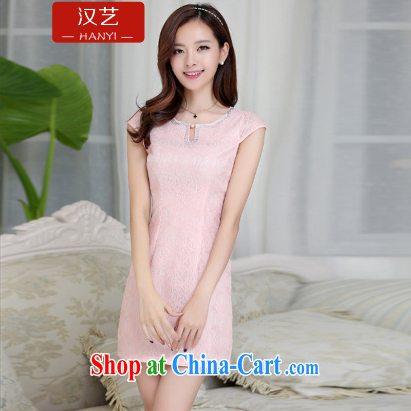 Han-yi 2015 cheongsam dress summer stylish new improved cheongsam retro daily sexy lace short dress pink XXL