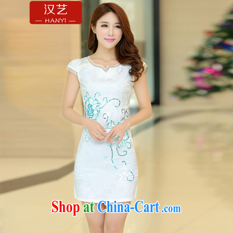 Han-yi 2015 daily qipao dresses new spring and summer are decorated with graphics thin improved cheongsam short dresses, Retro, the Code women white XL