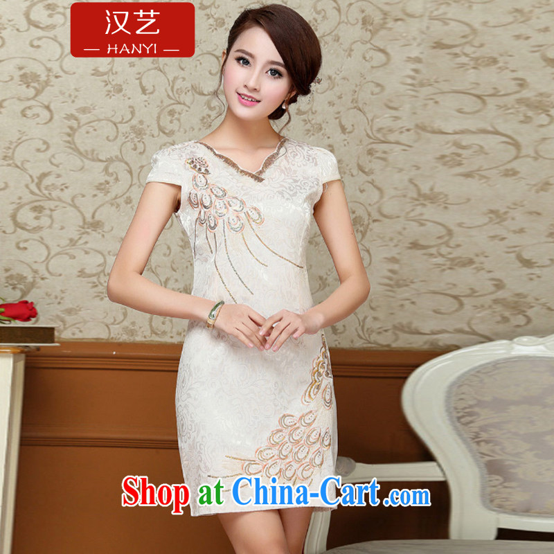 The performing arts 2015 new Chinese in Ms. long cheongsam stylish beauty short-sleeved improved the code cheongsam dress evening dress pale yellow XXL