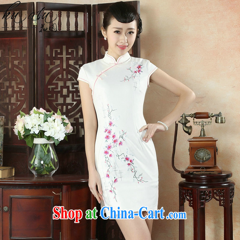spend the summer new cheongsam dress Chinese improved, for a tight embroidered light cultivating small Phillips-short dresses such as the color 2 XL