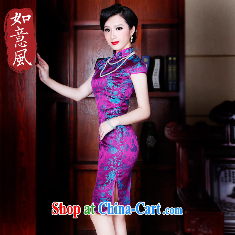 Unwind after the 2015 spring and summer new dresses high-end dress Stylish retro improved cheongsam dress dress 5221 new 5221 purple XXL