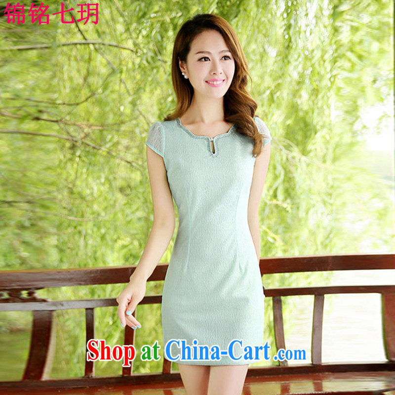 Kam Ming Yin Yue 7 summer 2015 new minimalist retro beauty graphics thin cheongsam dress Green Green L