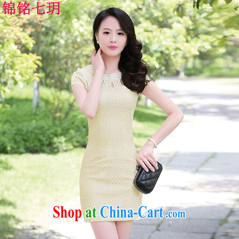 Kam Ming Yin Yue 7 summer 2015 new minimalist retro beauty graphics thin cheongsam dress apricot XL