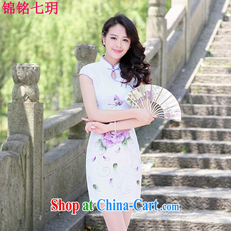 Kam Ming Yin Yue 7 summer 2015 new minimalist retro beauty graphics thin cheongsam dress light purple XL