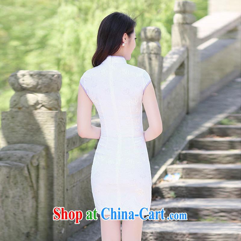 Kam-ming Yin Yue 7 summer 2015 new minimalist retro beauty graphics thin cheongsam dress light purple XL, Kam-ming 7 Yin Yue, shopping on the Internet