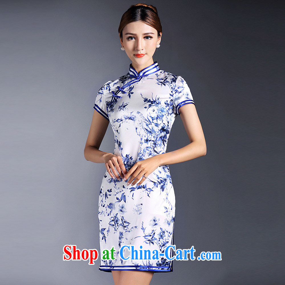 Summer 2015 new girls improved sexy graphics thin daily blue and white porcelain stamp double-wrinkled short-sleeved short cheongsam dress XL
