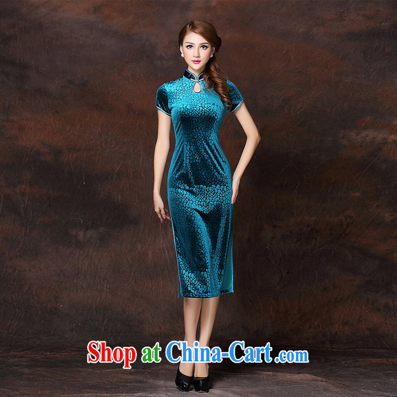 Dresses 2015 New Beauty video thin sexy banquet toast sporting clothes tight short-sleeved improved long robes, skirts, navy blue 4 XL