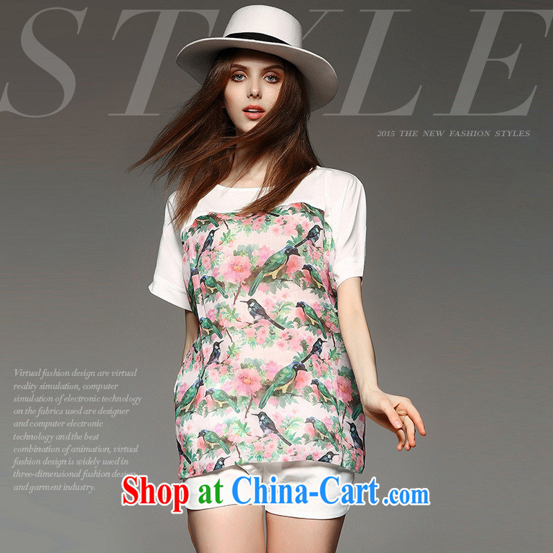 hamilton summer new European style romantic flower stamp stitching loose version high-end, the T-shirt pink L