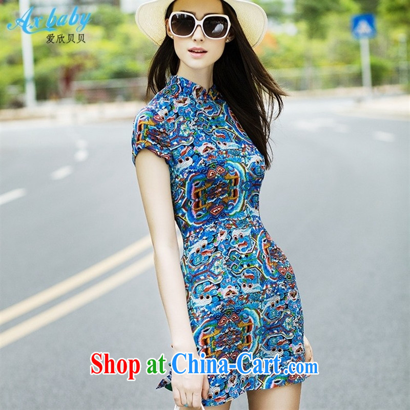 Love Yan Babe _Axbaby_ summer silk dress stamp on the truck beauty graphics thin improved cheongsam dress dark blue XXL