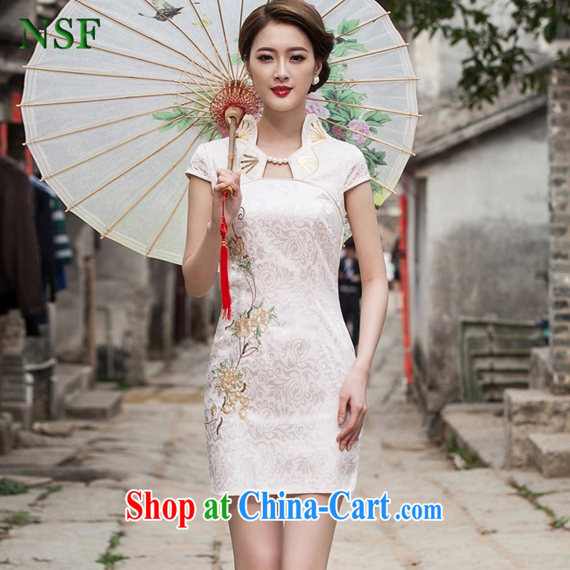 NSF summer 2015 new female fashion improved cheongsam dress daily beauty dresses short Chinese Dress summer apricot XXL