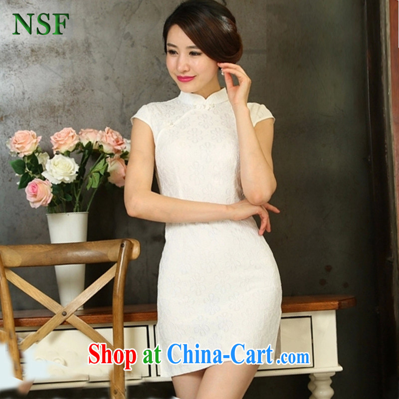 2015 NSF X summer new women with stylish retro dresses improved daily cheongsam dress with short summer dress white XXL