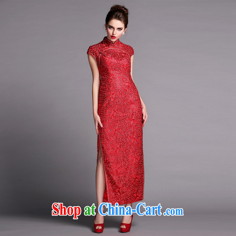 Long dresses 2015 new dress summer wedding dress improved cultivation video thin retro Park Ki-mouth robe skirt red XXL