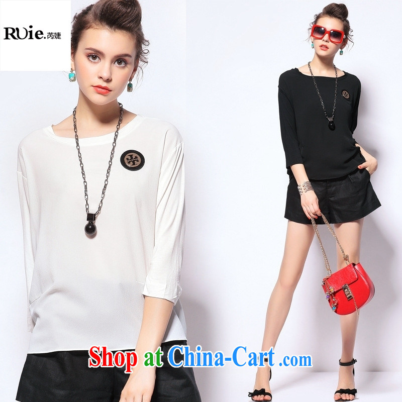 The European site boutique style summer 2015 new solid-colored female American and European Big female T shirts hot Q 151,965 black L