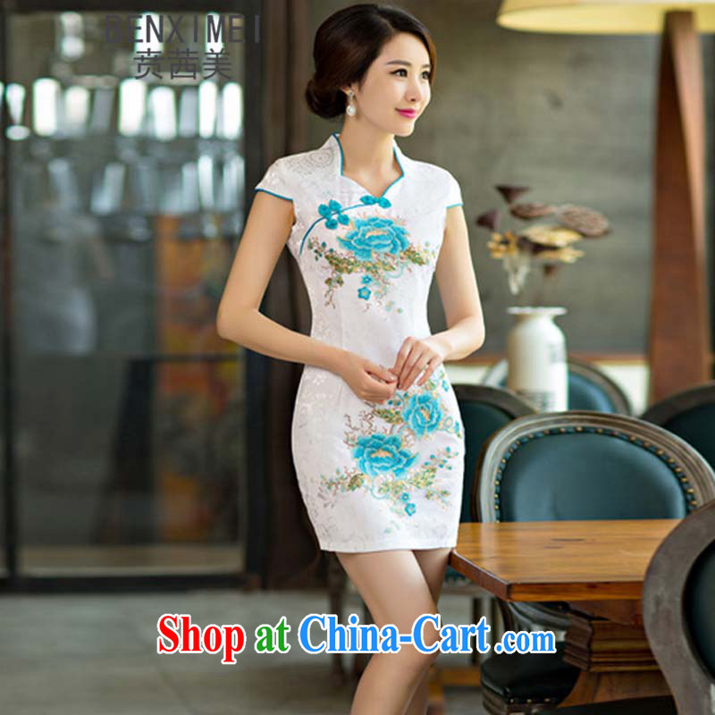 Ben Stiller sin the US daily cheongsam dress short 2015 new dresses summer improved the Code women toast clothing blue flower XXL