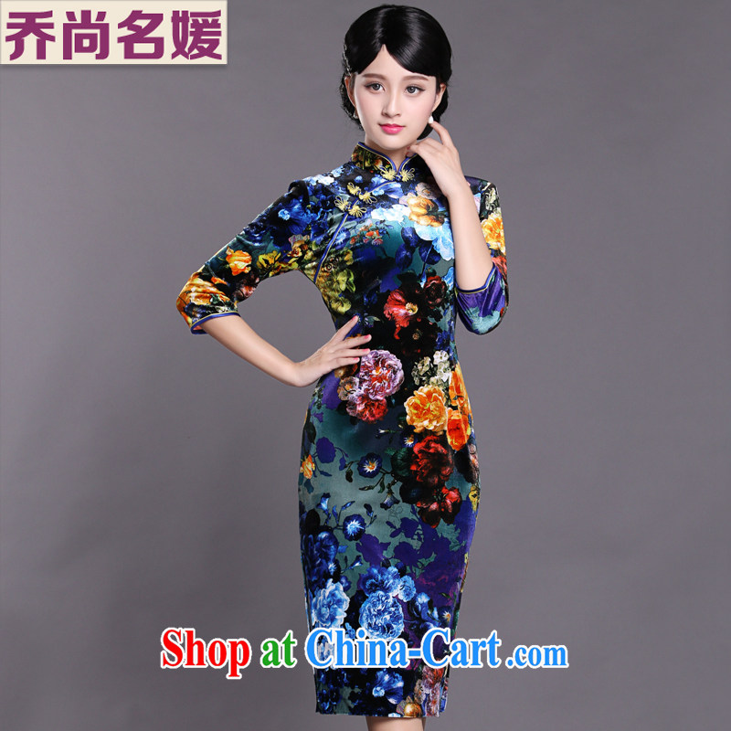 Joe is still name-yuan gold velour robes, long, 7 cuff banquet Chinese Dress HGR 001 fancy XXXL