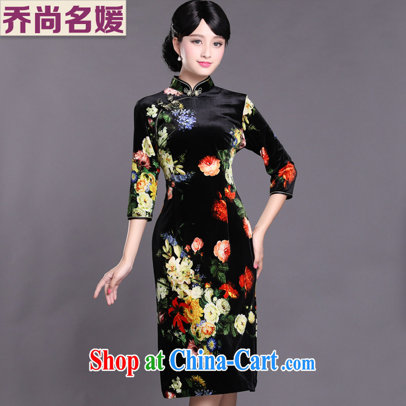 Joe is still a high-won gold velour cheongsam dress in antique long dress skirt HGR 003 yellow XXXL