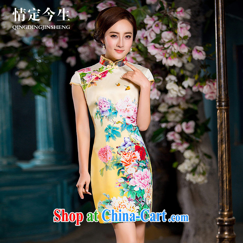 Love Life, for retro 2015 summer new bird stamp sexy package and improved the forklift truck outfit yellow XXL