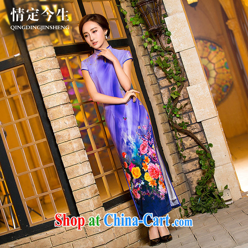 Love Of The life long, Retro 2015 summer New Beauty video thin water droplets, a field for robes purple XXL
