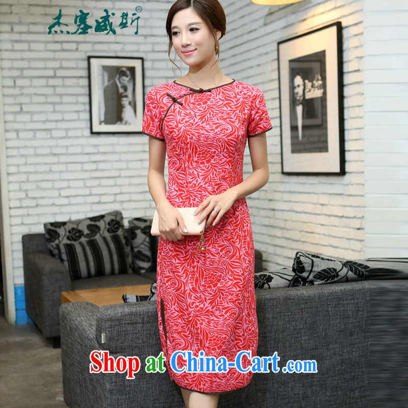 The Jessup, China wind improved female cotton the round-neck collar cheongsam short-sleeved hand detained in linen, long cheongsam dress, Pearl River in China round-collar XXL