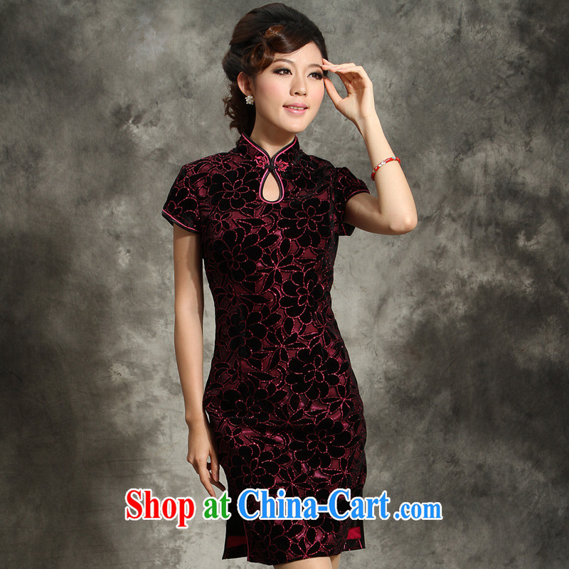 Sir David WILSON, high quality wool 2015 spring and summer, the older the code wedding her mother-in-law with her mother married cheongsam dress dress of red 4 XL
