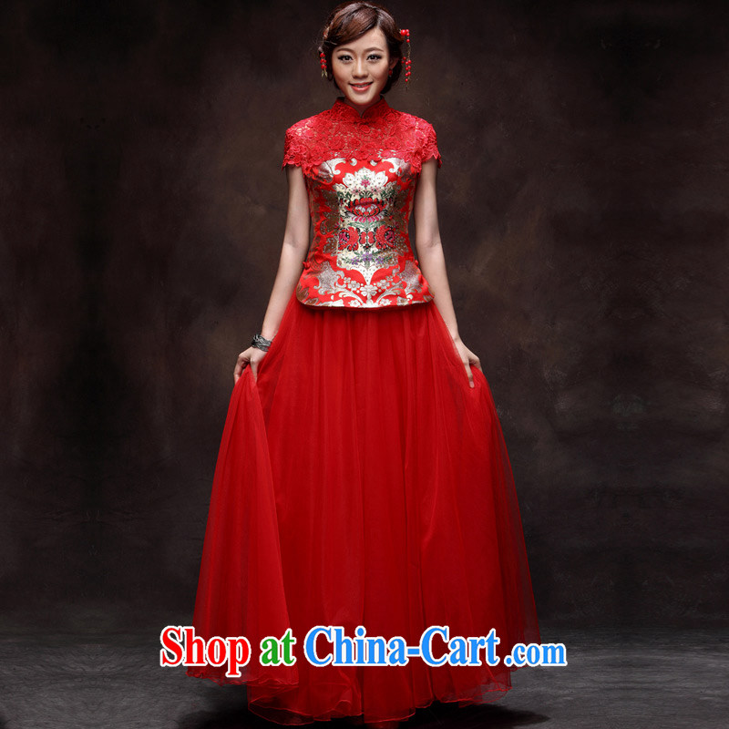 David WILSON, bridal wedding dress skirt Chinese red-su Wo service 2015 spring and summer new stylish retro long serving toast red 9 cuff XXL