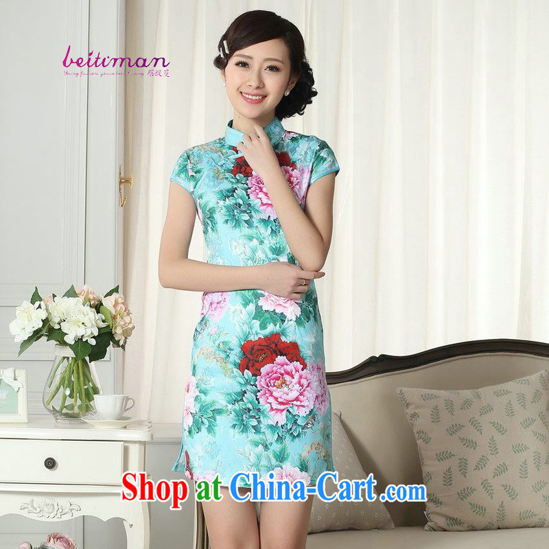 Mrs Ingrid economy sprawl Tang with improved cheongsam 2015 summer dress fashion style retro beauty short-sleeved larger dresses green XXL