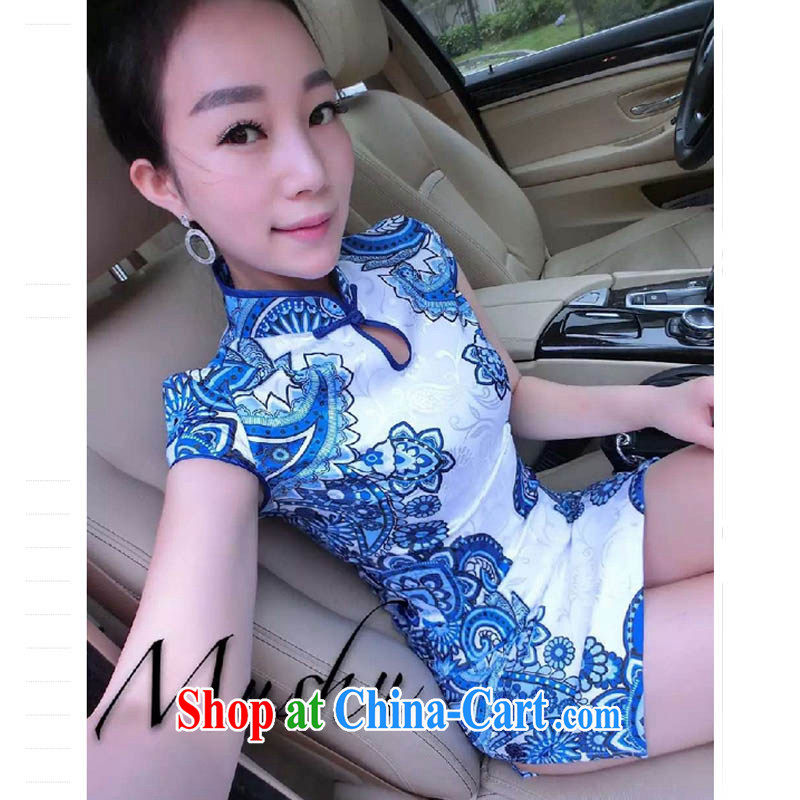 Oh, the 2015 summer retro name yuan style tight package and blue and white porcelain cheongsam dress white L