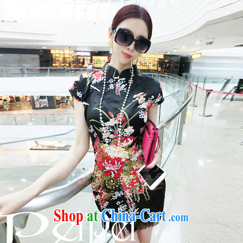 Oh, the new classic and elegant name yuan style beauty graphics thin painting stamp robes flow Su dresses black