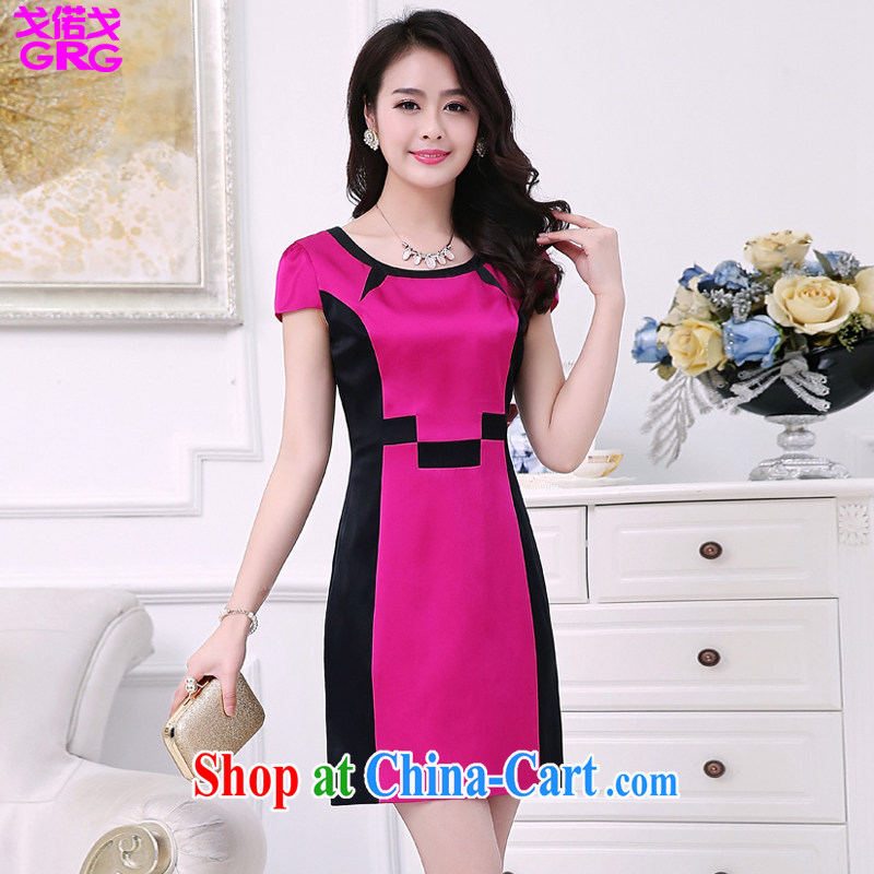 Al Gore called the 2015 new women summer short-sleeved stamp the code cheongsam dress of red XXXL - size large