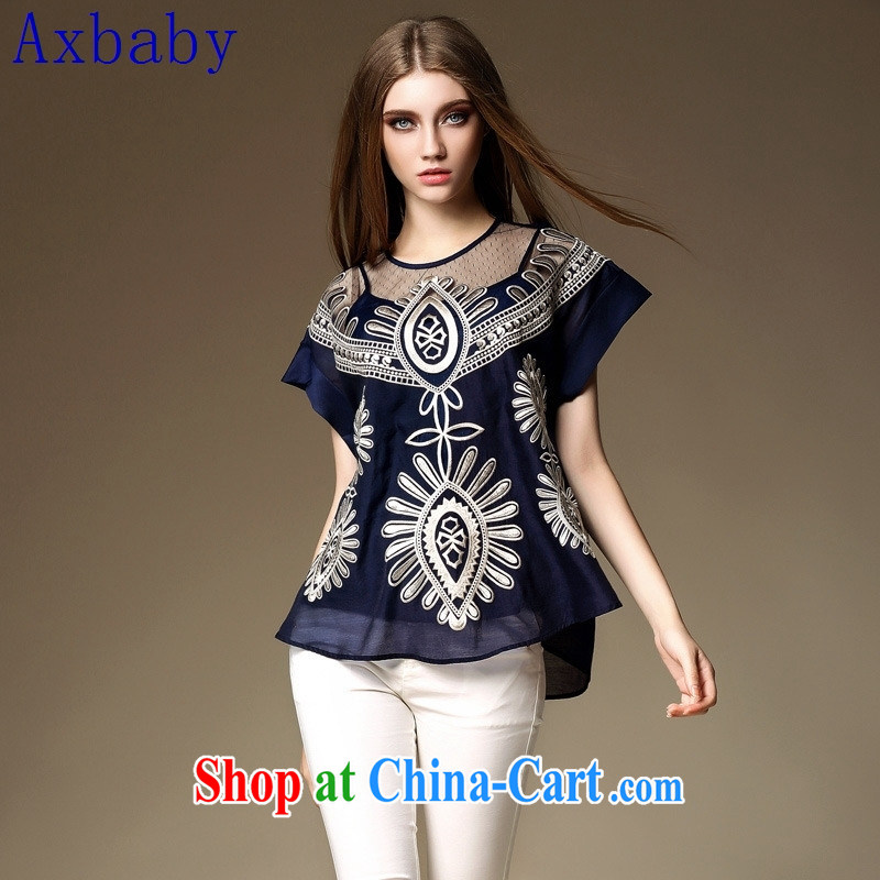 Sunny commuter store Y 204 European site 2015 summer the new women in Europe and America with the heavy industry embroidery elegant shirt T shirt dark blue L