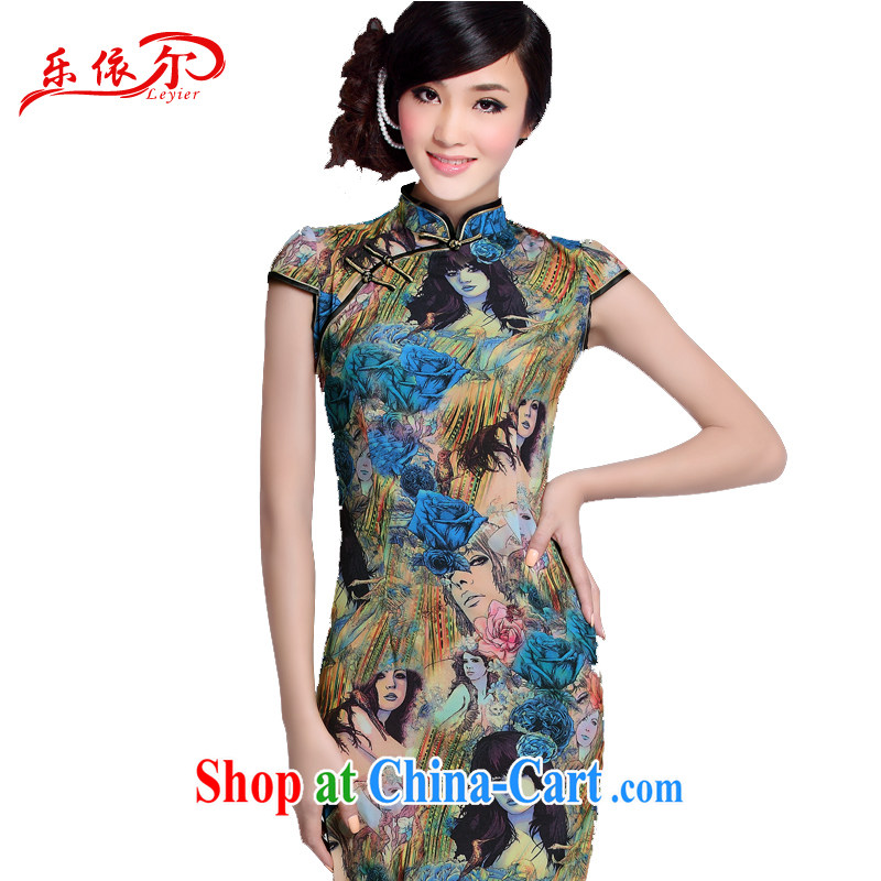 And, according to summer dress qipao female Chinese Antique improved stylish daily outfit low-power's beauty cheongsam dress LYE 1306 Map Color XXL