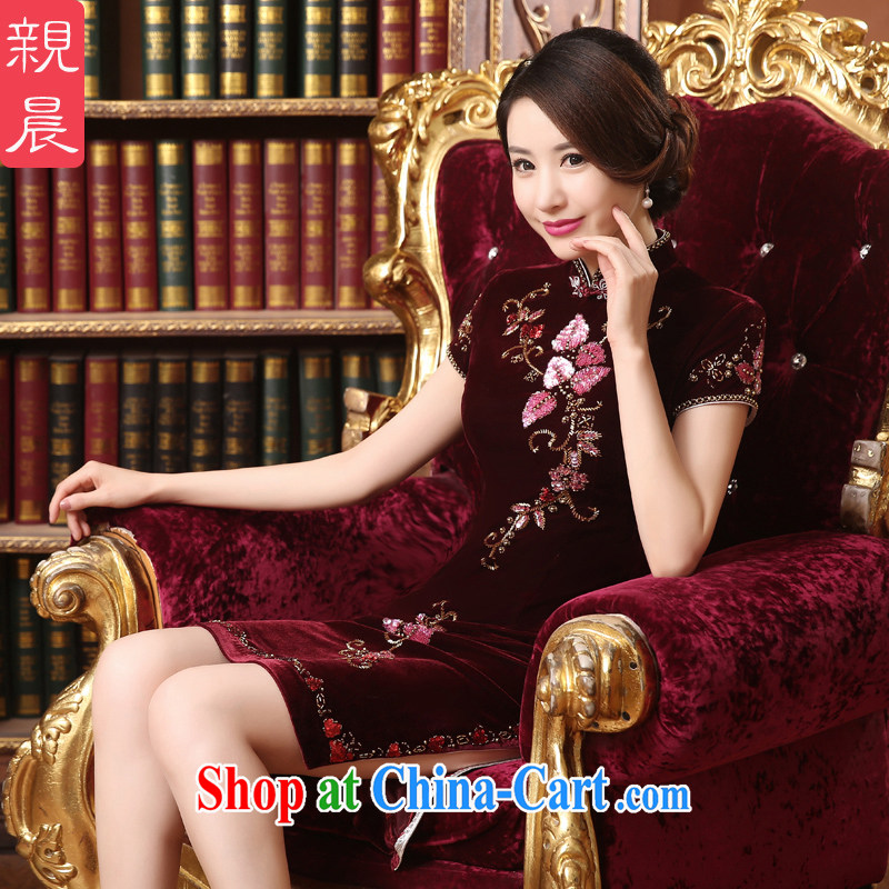 pro-am 2015 new summer daily improved stylish velour cheongsam dress wedding banquet mother load dresses wine red 2 XL