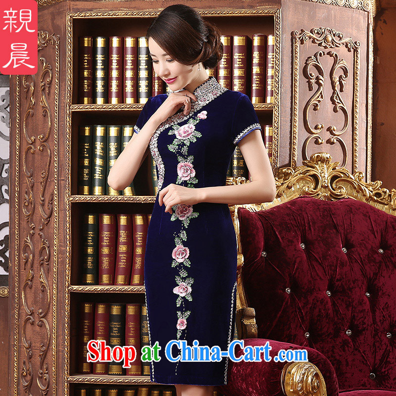 pro-am 2015 new mothers with the Kim long-sleeved wool staple Pearl dresses daily improved the code beauty dresses royal blue 2 XL