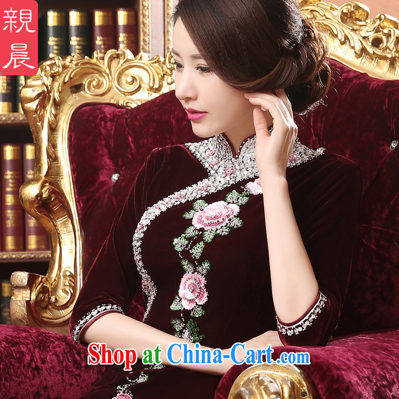 pro-am, new 2015 summer velvet Ms. daily improved cultivation inserts the drill long mother larger dresses dress wine red 2 XL
