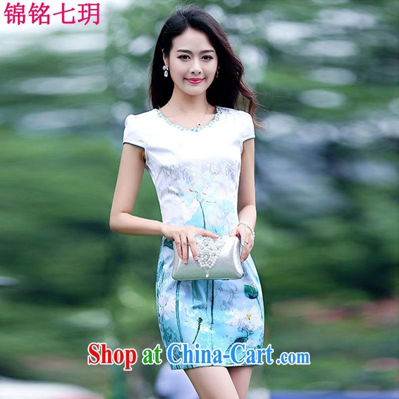 Kam Ming Yin Yue 7 summer 2015 new elegant fresh water and ink stamp graphics thin cheongsam dress blue lotus XL