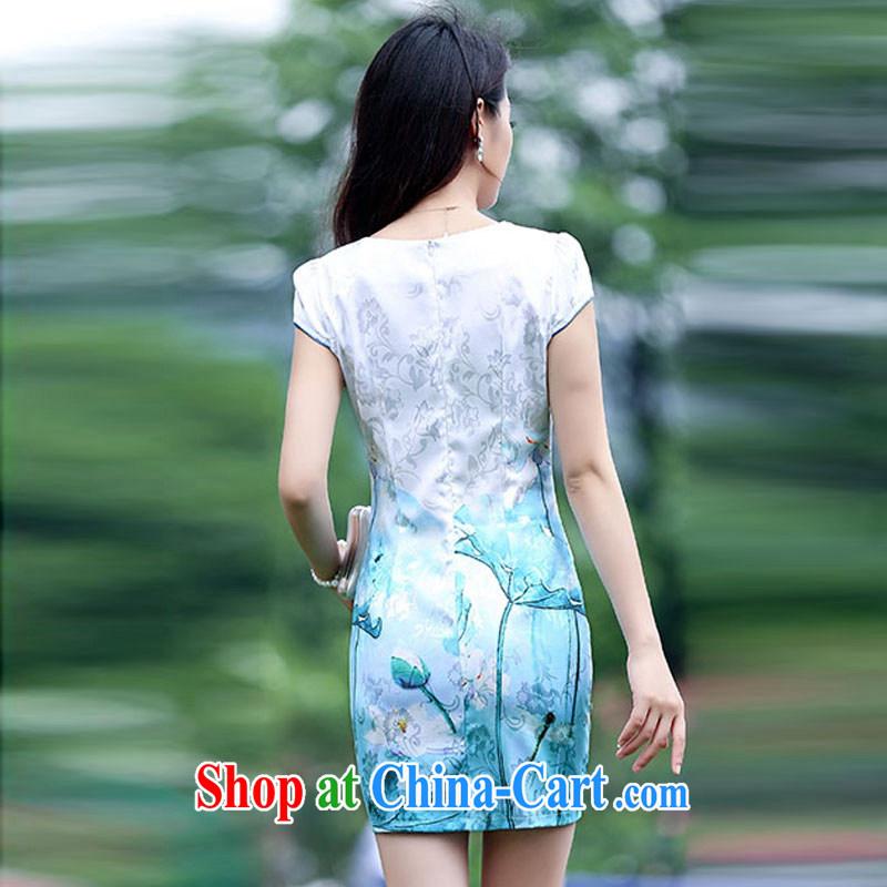 Kam Ming Yin Yue 7 summer 2015 new elegant fresh water and ink stamp graphics thin cheongsam dress blue lotus XL, Kam-ming 7 Yin Yue, shopping on the Internet