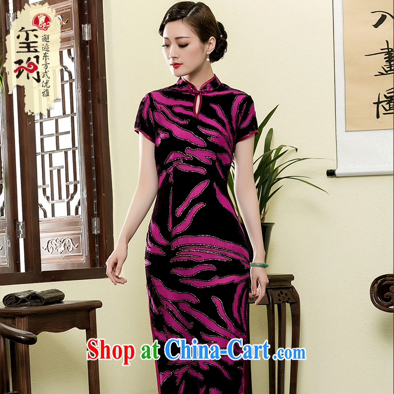 Yin Yue NARS summer 2015 New Long, improved cheongsam scouring pads and elegant middle-aged ladies MOM cheongsam dress purple and black XXXL