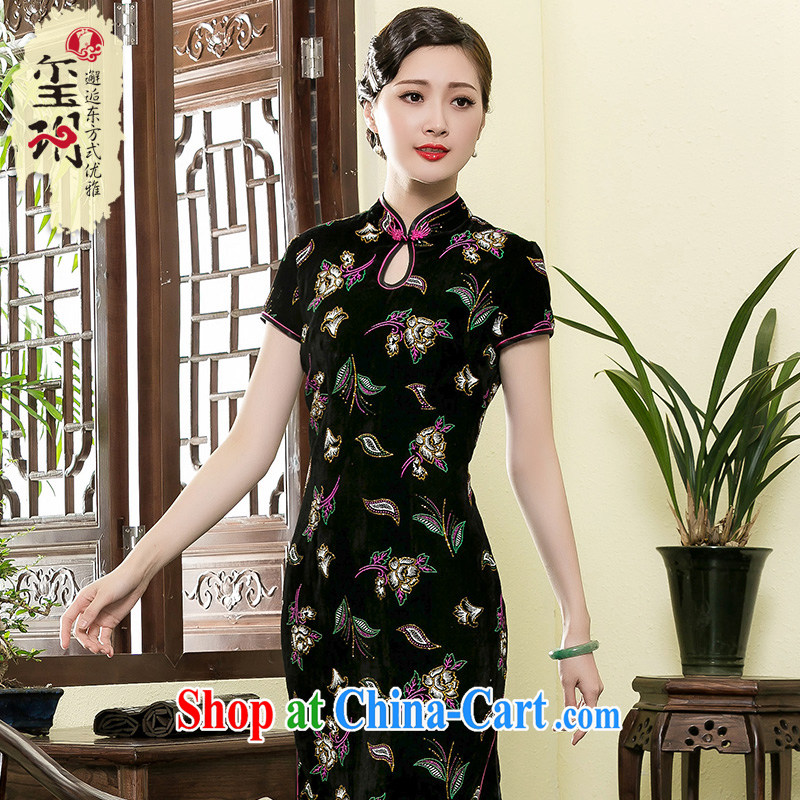 Yin Yue NARS summer 2015 New Long velvet cheongsam dress her mother dresses Ms. improved cheongsam stylish dresses picture color XXXL