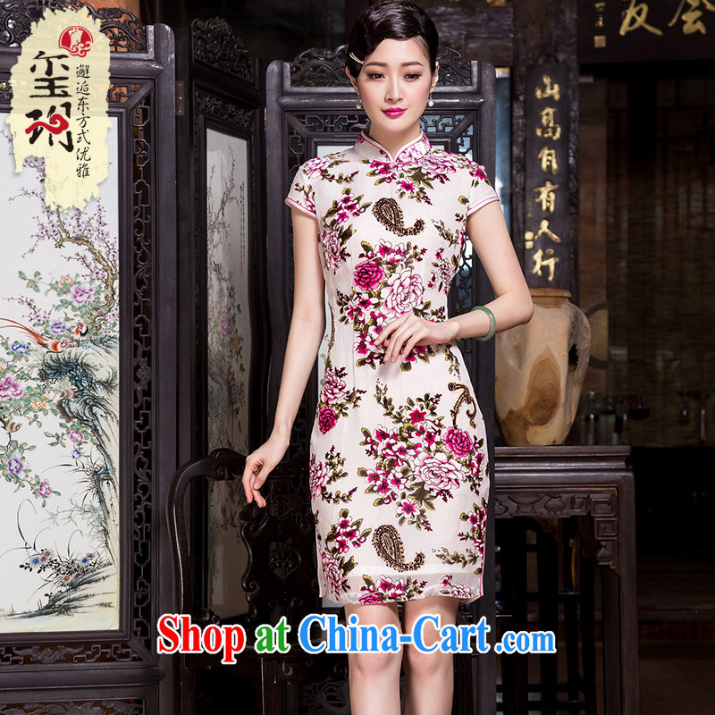 Yin Yue Seal spring and autumn 2015 New Silk black flower lint-free cloth retro dresses fashion, long, short-sleeved, cheongsam dress picture color 4 XL