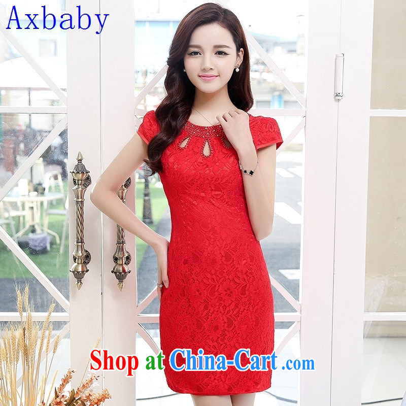 Sunny commuter store 2015 spring and summer toast Service Bridal wedding dress improved retro embroidery take short cheongsam Red Red XXL
