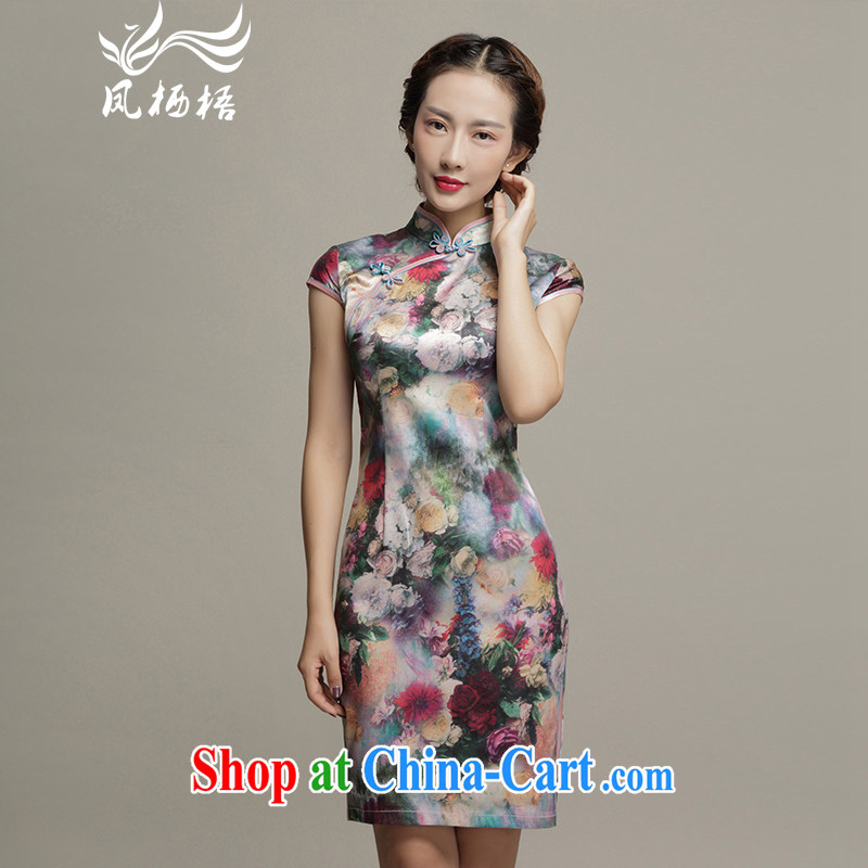 Bong-amphibious gulping floral 2015 spring and summer new short Silk Cheongsam beauty graphics thin sauna elegant silk cheongsam dress DQ 1572 fancy XXXL