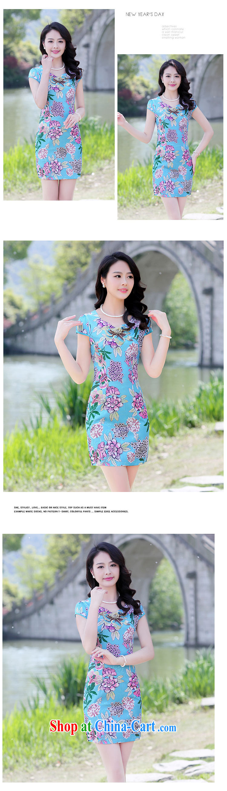 Cover Story cheongsam dress 2015 summer new stylish blue and white porcelain stamp improved beauty antique Chinese qipao Ms. dresses white floor take XXL pictures, price, brand platters! Elections are good character, the national distribution, so why buy now enjoy more preferential! Health